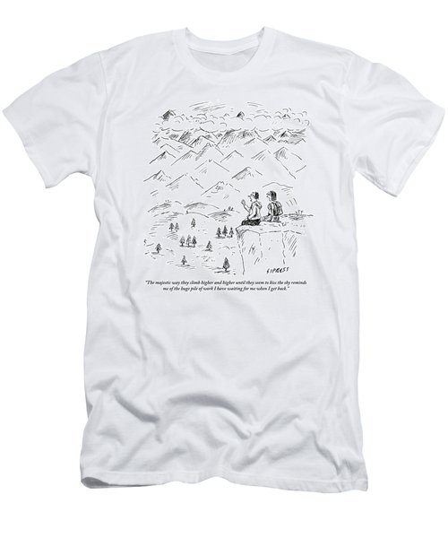 Two Hikers In A Mountainous Area Are Resting. One Men's T-Shirt (Athletic Fit)