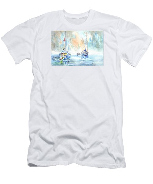 Men's T-Shirt (Slim Fit) featuring the painting Two In The Early Morning Mist by Carol Wisniewski