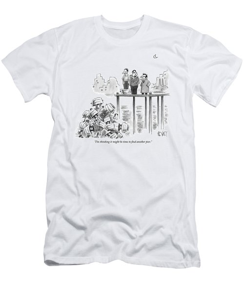 Two Mafiosos Stand On The Edge Of A Pier Men's T-Shirt (Athletic Fit)