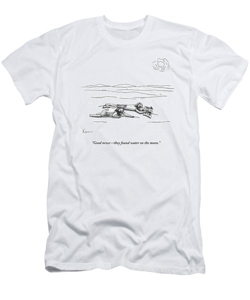 Two Men Are On Their Stomachs In A Desert.  One Men's T-Shirt (Athletic Fit)