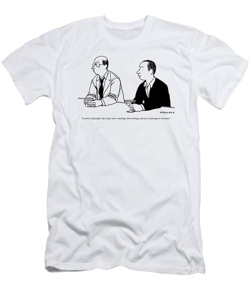 Two Men Are Seen Speaking With Each Other Men's T-Shirt (Athletic Fit)