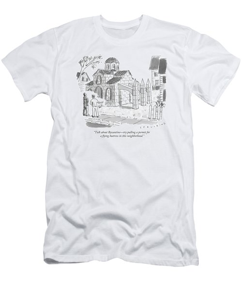 Two Men Look At A House That Is Built Men's T-Shirt (Athletic Fit)
