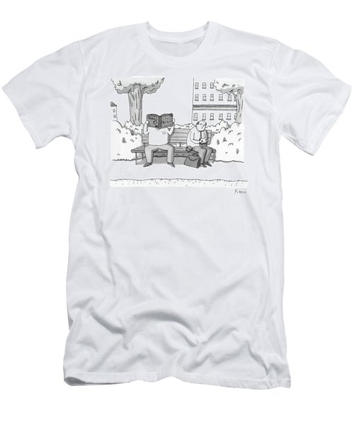 Two Men On A Bench. One Is Eating A Sandwich Men's T-Shirt (Athletic Fit)