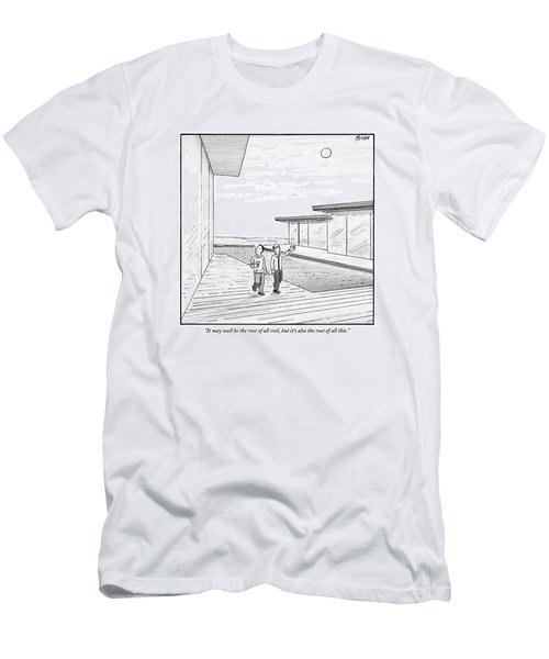 Two Men Touring The Outside Of A Big House Men's T-Shirt (Athletic Fit)