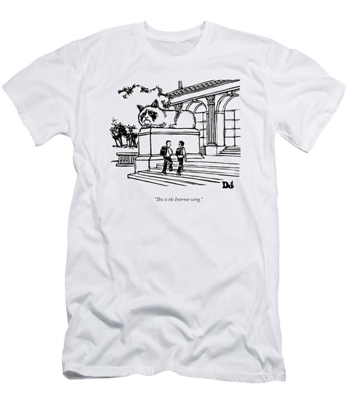 Two Men Walk Into A Library.  There Is An Men's T-Shirt (Athletic Fit)