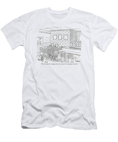Two Older Men Are Sitting An An Empty Bar Talking Men's T-Shirt (Athletic Fit)