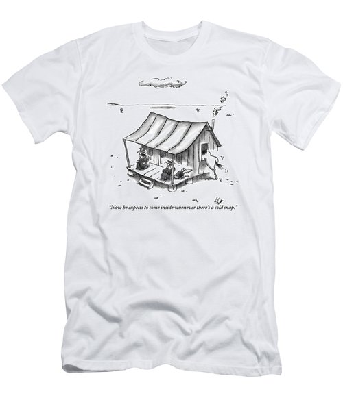 Two People Are Seen Sitting On A Porch Of A Small Men's T-Shirt (Athletic Fit)