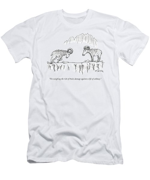 Two Rams Talk To Each Other Men's T-Shirt (Athletic Fit)