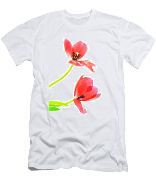 Two Red Transparent Flowers Men's T-Shirt (Athletic Fit)