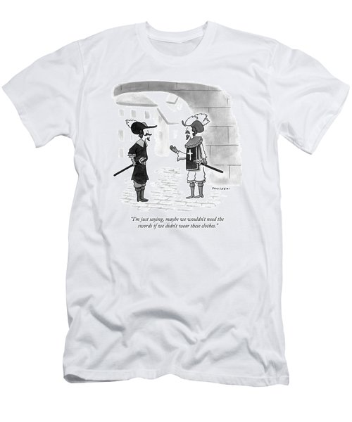Two Soldiers Wearing Late Medieval Men's T-Shirt (Athletic Fit)