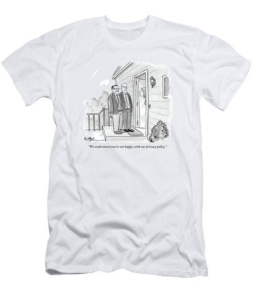 Two Suited Men Stand On The Doorstep Of A House Men's T-Shirt (Athletic Fit)