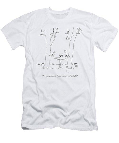 Two Trees Look At Restaurant Menus Men's T-Shirt (Athletic Fit)