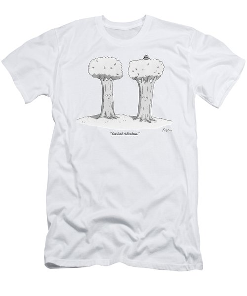 Two Trees With Faces Are Seen Next To Each Other Men's T-Shirt (Athletic Fit)