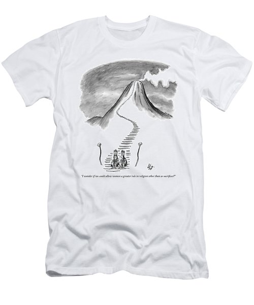 Two Tribesmen With Feather Headdresses Sit Men's T-Shirt (Athletic Fit)