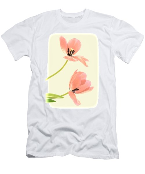 Two Tulips In Pink Transparency Men's T-Shirt (Athletic Fit)