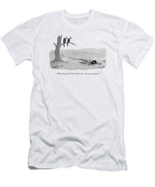 Two Vultures Watch A Man Crawl Men's T-Shirt (Athletic Fit)