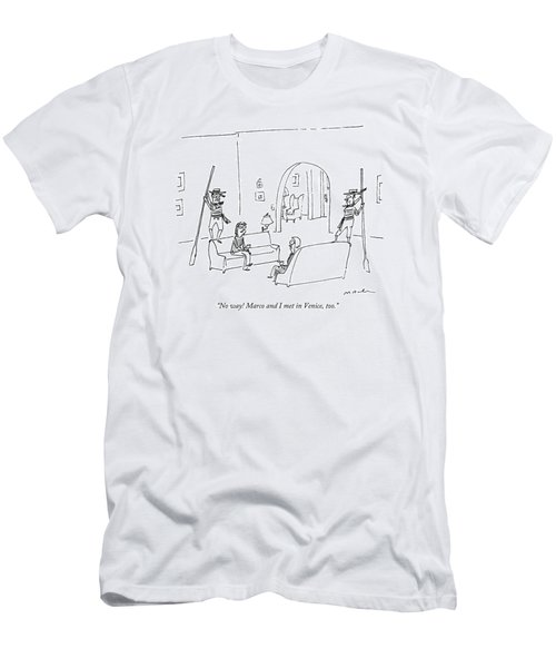 Two Women Converse In A Living Room Men's T-Shirt (Athletic Fit)
