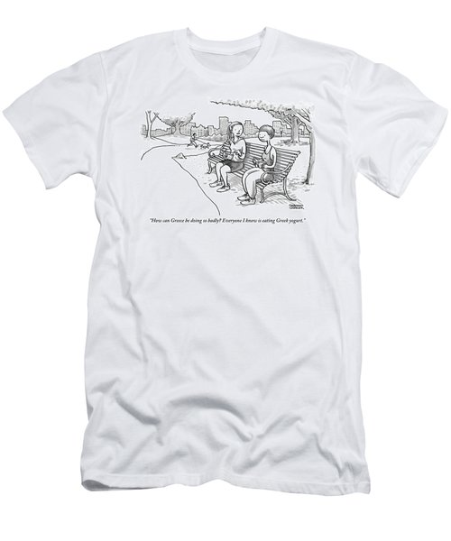 Two Women In Exercise Clothes Sit On A Park Bench Men's T-Shirt (Athletic Fit)