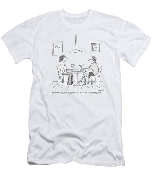 Two Women Sit Across From Each Other At A Small Men's T-Shirt (Athletic Fit)