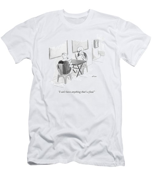 Two Women Speak In A Restaurant Men's T-Shirt (Athletic Fit)