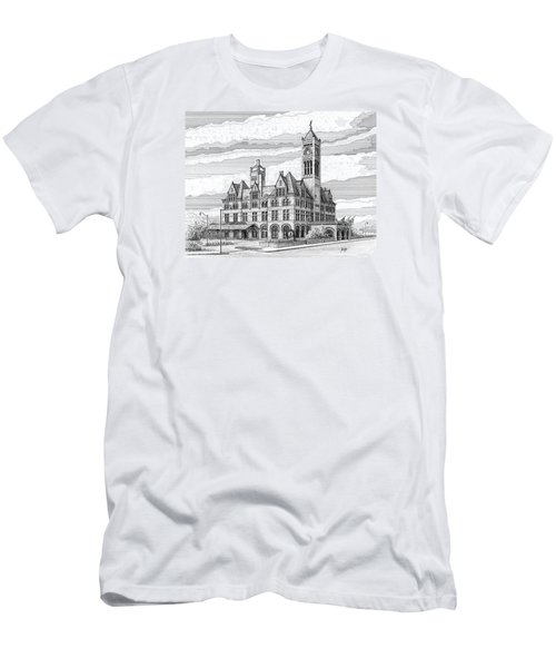 Men's T-Shirt (Slim Fit) featuring the drawing Union Station In Nashville Tn by Janet King