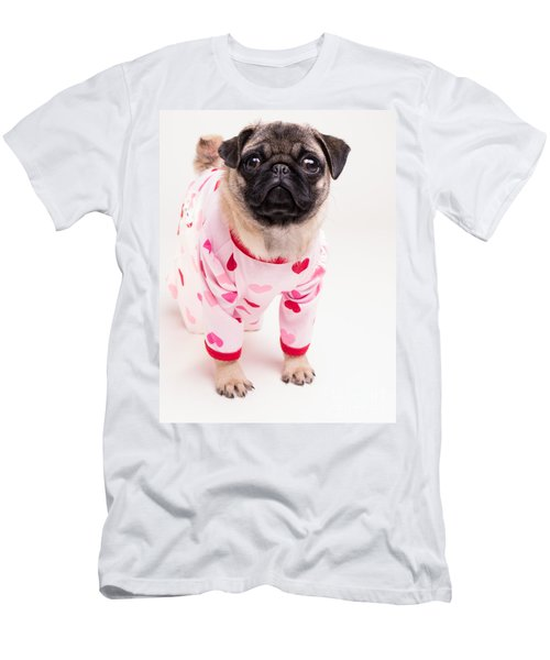Valentine's Day - Adorable Pug Puppy In Pajamas Men's T-Shirt (Athletic Fit)