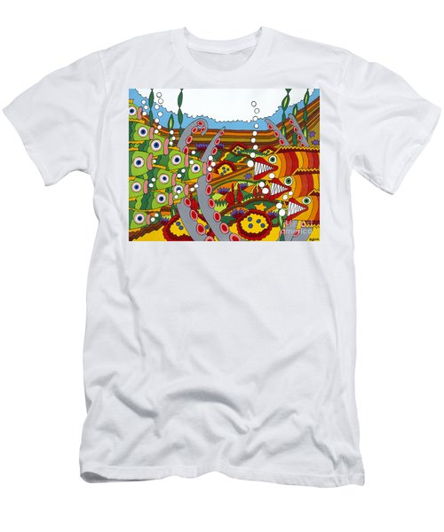 Vegetarians And Meat Eaters Men's T-Shirt (Slim Fit) by Rojax Art