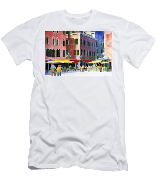 Men's T-Shirt (Slim Fit) featuring the painting Venetian Piazza by Roger Rockefeller