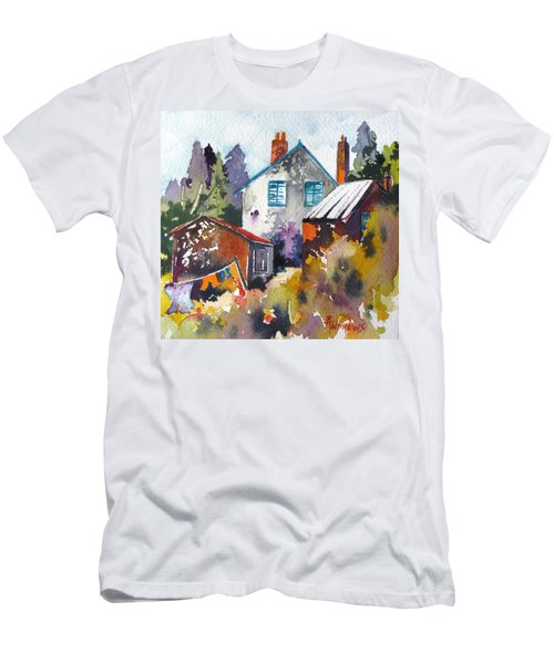 Men's T-Shirt (Slim Fit) featuring the painting Village Life 1 by Rae Andrews