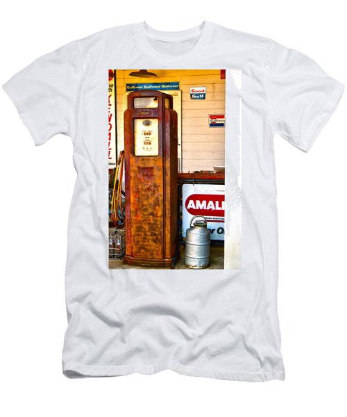Men's T-Shirt (Slim Fit) featuring the photograph Vintage Bassett Gas Pump   by Lesa Fine