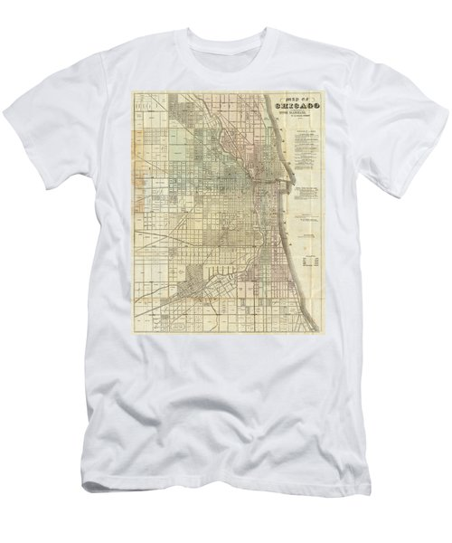 Vintage Map Of Chicago - 1857 Men's T-Shirt (Athletic Fit)