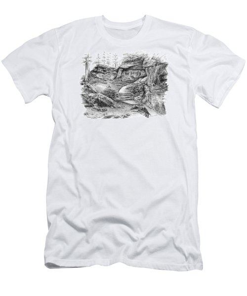Men's T-Shirt (Slim Fit) featuring the drawing Virginia Kendall Ledges - Cuyahoga Valley National Park by Kelli Swan