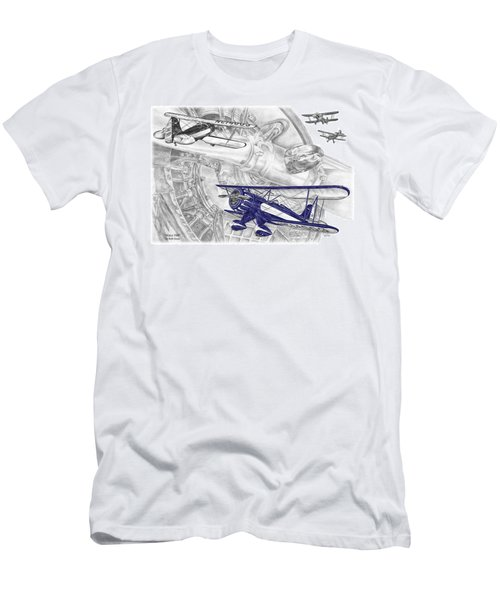 Waco Ymf - Vintage Biplane Aviation Art With Color Men's T-Shirt (Athletic Fit)