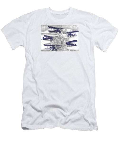 Wacos - Vintage Biplane Aviation Art With Color Men's T-Shirt (Athletic Fit)