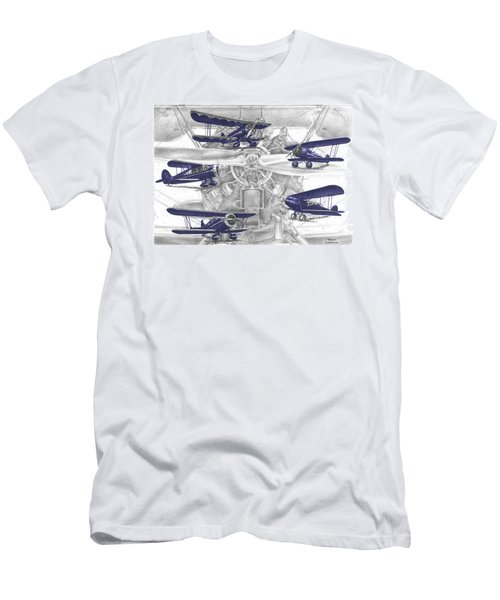 Wacos - Vintage Biplane Aviation Art With Color Men's T-Shirt (Athletic Fit)