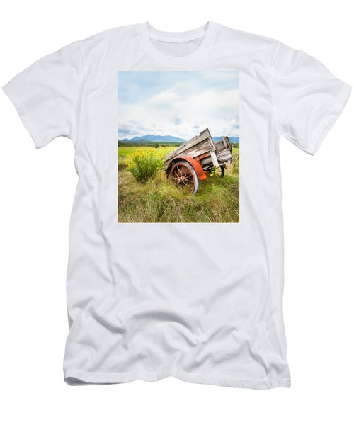 Men's T-Shirt (Slim Fit) featuring the photograph Wagon And Wildflowers - Vertical Composition by Gary Heller
