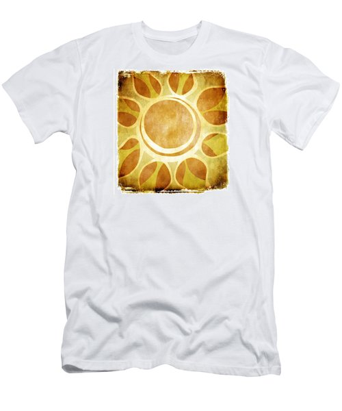 Men's T-Shirt (Slim Fit) featuring the drawing Warm Sunny Flower by Lenny Carter