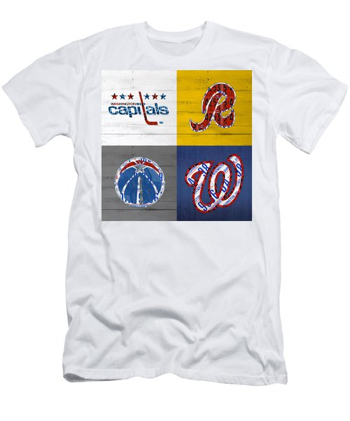 Washington Dc Sports Fan Recycled Vintage License Plate Art Capitals Redskins Wizards Nationals Men's T-Shirt (Athletic Fit)