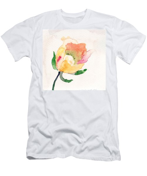 Watercolor Illustration With Beautiful Flower  Men's T-Shirt (Athletic Fit)