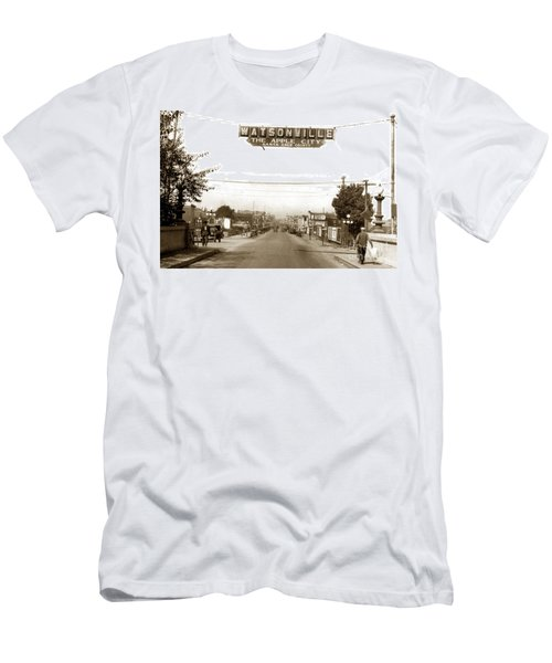 Watsonville California  The Apple City Circa 1926 Men's T-Shirt (Slim Fit) by California Views Mr Pat Hathaway Archives