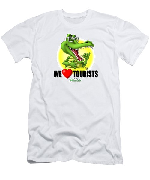 We Love Tourists Gator Men's T-Shirt (Slim Fit) by Scott Ross