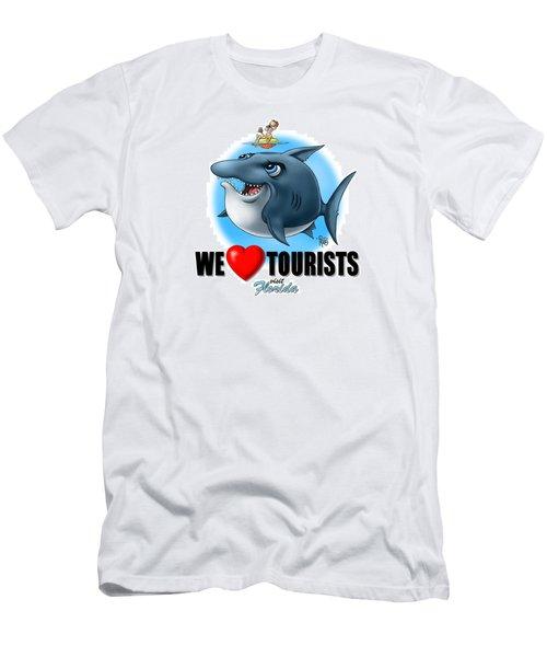 We Love Tourists Shark Men's T-Shirt (Athletic Fit)