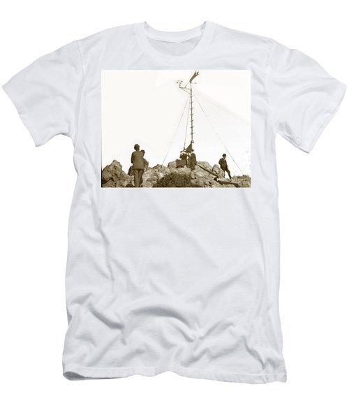 Men's T-Shirt (Slim Fit) featuring the photograph Weather Station Mount Tamalpais Marin County California Circa 1902 by California Views Mr Pat Hathaway Archives