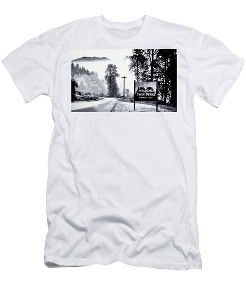 Men's T-Shirt (Slim Fit) featuring the painting Welcome To Twin Peaks by Luis Ludzska