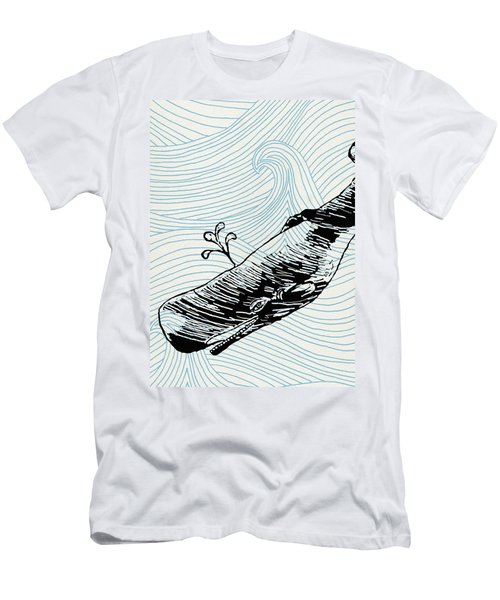 Whale On Wave Paper Men's T-Shirt (Athletic Fit)