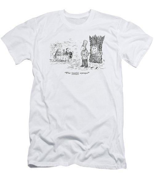 What Beautiful Asparagus! Men's T-Shirt (Slim Fit) by Edward Koren