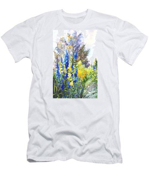 Where The Delphinium Blooms Men's T-Shirt (Slim Fit) by Carol Wisniewski