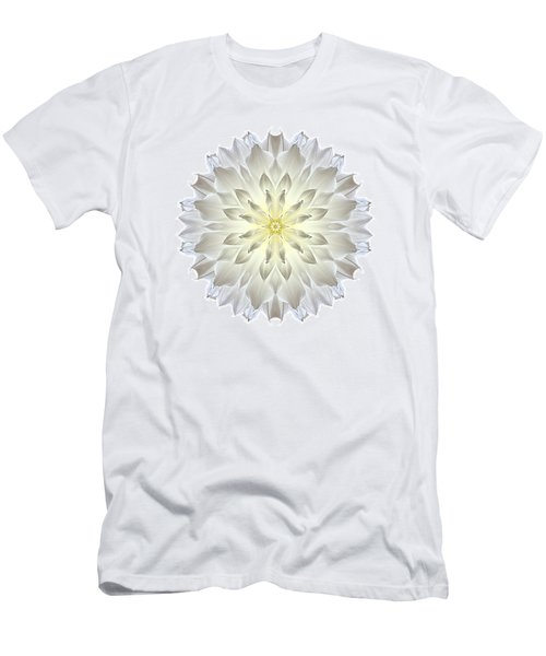 Giant White Dahlia I Flower Mandala White Men's T-Shirt (Athletic Fit)