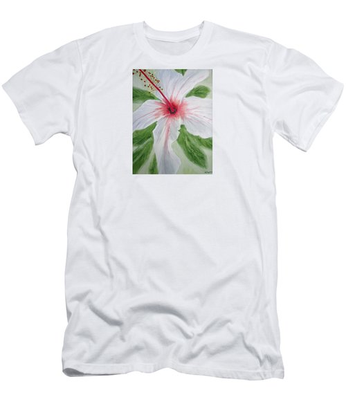 White Hibiscus Flower Men's T-Shirt (Athletic Fit)