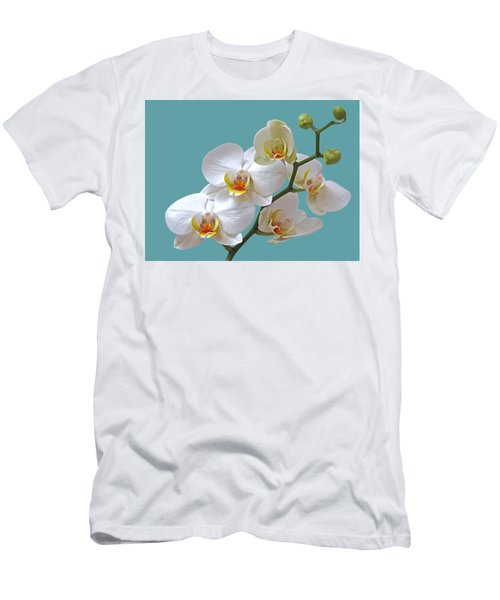 White Orchids On Ocean Blue Men's T-Shirt (Slim Fit) by Gill Billington